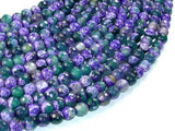 Agate Beads, Purple & Green, 6mm Faceted, 14.5 Inch-Ebeader