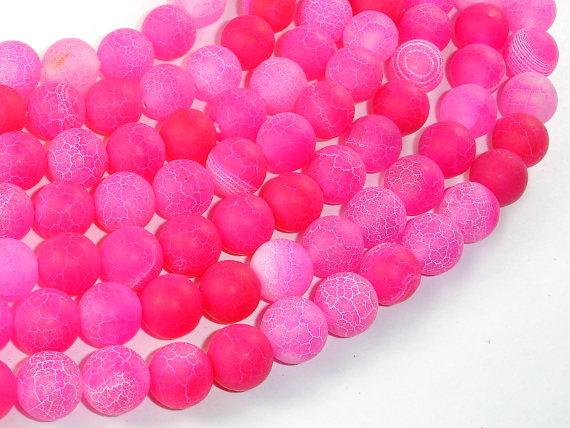 Frosted Matte Agate Beads, Pink, 10mm Round-Ebeader