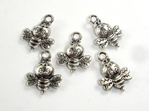 Honey Bee Charms, Zinc Alloy, Antique Silver Tone 20pcs-Ebeader