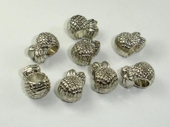 Pineapple Spacer, Metal Beads, Large Hole Spacer, Zinc Alloy, 10pcs-Ebeader