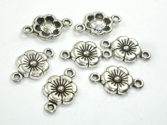 Metal Flower Connector Links, Zinc Alloy, Antique Silver Tone 30pcs-Ebeader