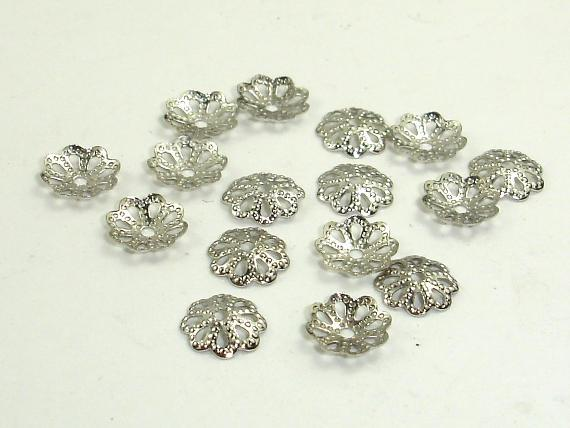 Bead Caps, Rhodium Plated Jewelry findings 6mm, 300 pcs-Ebeader