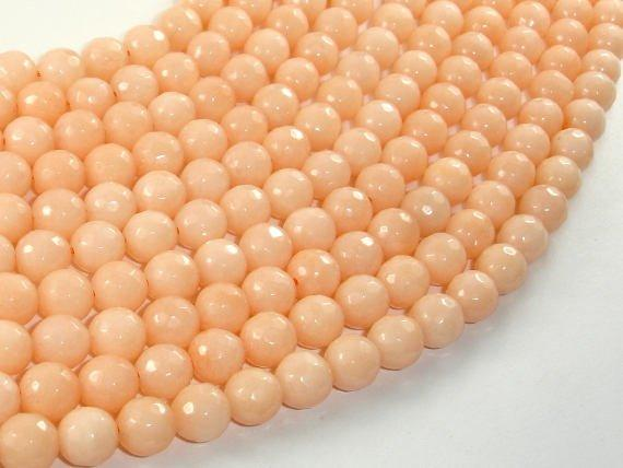 Jade Beads, Peach, 8mm Faceted Round-Ebeader