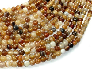 Banded Agate Beads, Brown, 6mm(6.3mm) Round-Ebeader