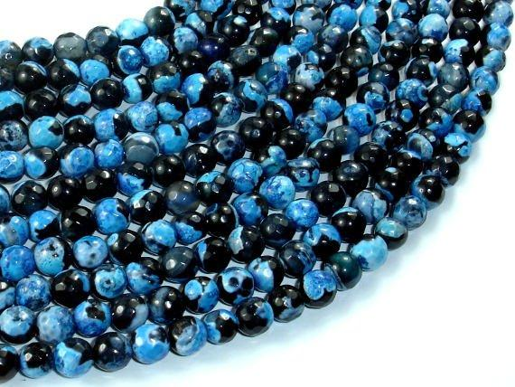 Agate Beads, Blue & Black, 6mm(6.3mm) Faceted Round-Ebeader