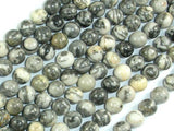 Gray Picture Jasper Beads, 8mm Round Beads-Ebeader
