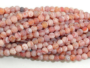 Matte Dragon Vein Agate - Orange & Red, 4mm Round Beads-Ebeader