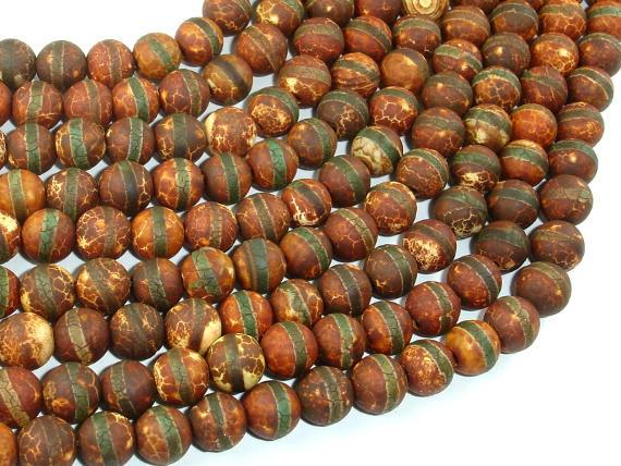 Crackle Tibetan Agate, 8mm Round Beads-Ebeader