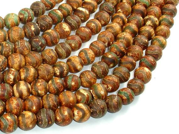 Crackle Tibetan Agate, 10mm Round Beads-Ebeader