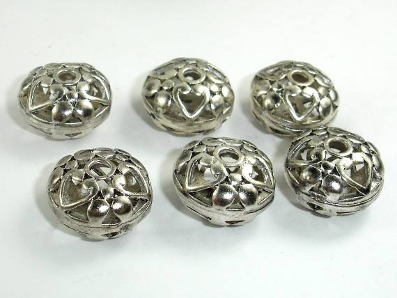 Metal Beads, Metal Hollow Flat Round Spacer, Zinc Alloy, Antique Silver Tone 4pcs-Ebeader
