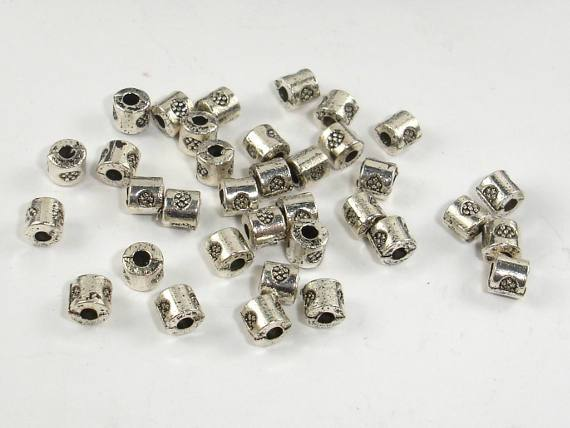 Metal Beads, Tube Spacer, Zinc Alloy, Antique Silver Tone 100pcs-Ebeader