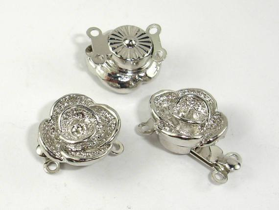 Flower Box Clasps- 2 strand , Rhodium Plated 4pcs-Ebeader