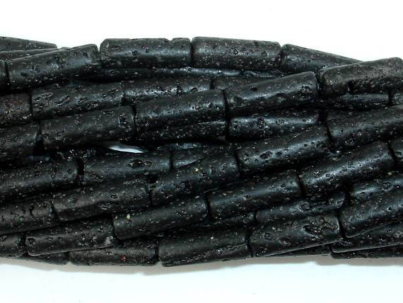 Black Lava, 4x13mm Tube Beads-Ebeader