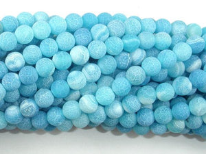 Frosted Matte Agate - Sea Blue, 6mm Round Beads-Ebeader