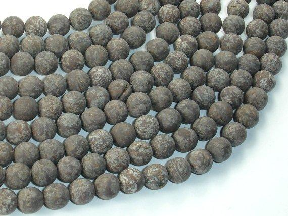 Matte Brown Snowflake Obsidian Beads, 8mm Round Beads-Ebeader
