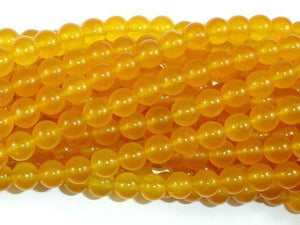 Jade Beads, Yellow, 8mm Round Beads-Ebeader