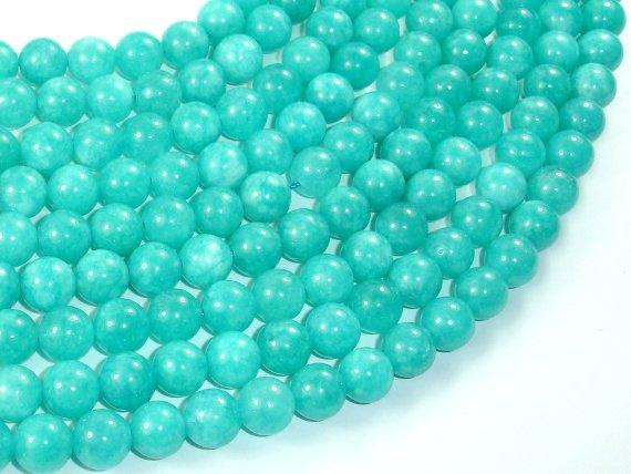 Sponge Quartz Beads-Teal, 8mm Round Beads-Ebeader