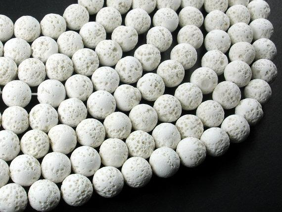 White Lava Beads, 10mm Round Beads-Ebeader