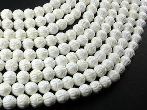 Tridacna Shell Beads, 8mm Carved Lotus Flower Round Beads-Ebeader