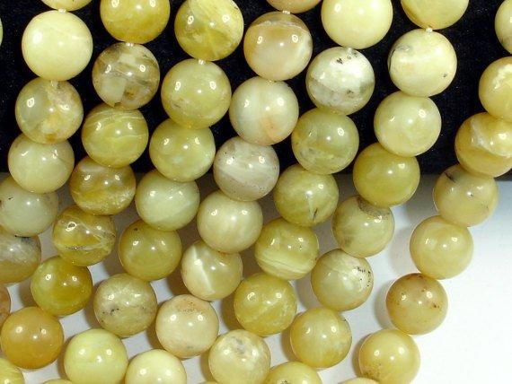Yellow Opal Beads, 10 mm, Round Beads-Ebeader