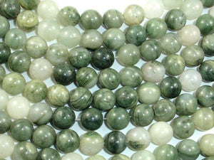 Green Line Quartz Beads, 8mm, Round-Ebeader