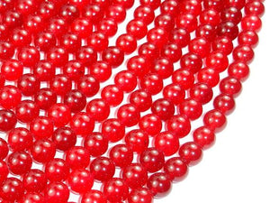 Red Jade Beads, Round, 8mm-Ebeader
