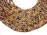 Tiger Eye Beads, Faceted Round, 8mm-Ebeader