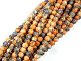 Rain Flower Stone, Orange, 4mm Round Beads-Ebeader