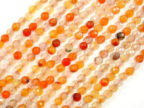 Orange Agate Beads, 4mm Faceted Round-Ebeader