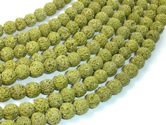 Peridot color Lava Beads, 8mm-Ebeader