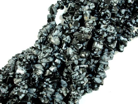 Snowflake Obsidian, 4-7mm Chips Beads-Ebeader