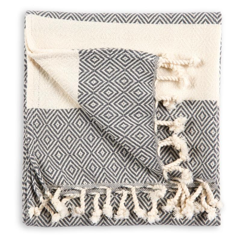 POKOLOKO - TURKISH  HAND TOWEL DIAMOND SLATE