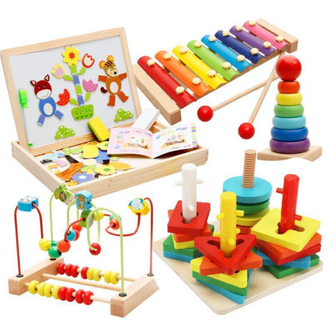 Wooden Baby Toddler Early Educational Toys Circle First Bead Coaster Maze For Kids