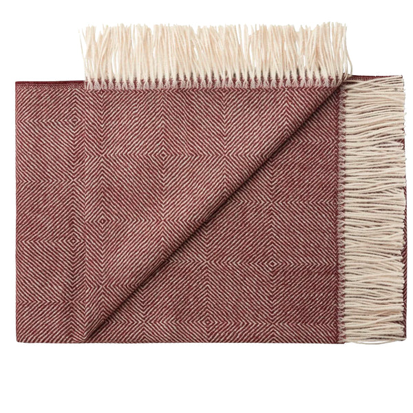 THROW/BLANKET - Alpaca diamond weave - BURGUNDY