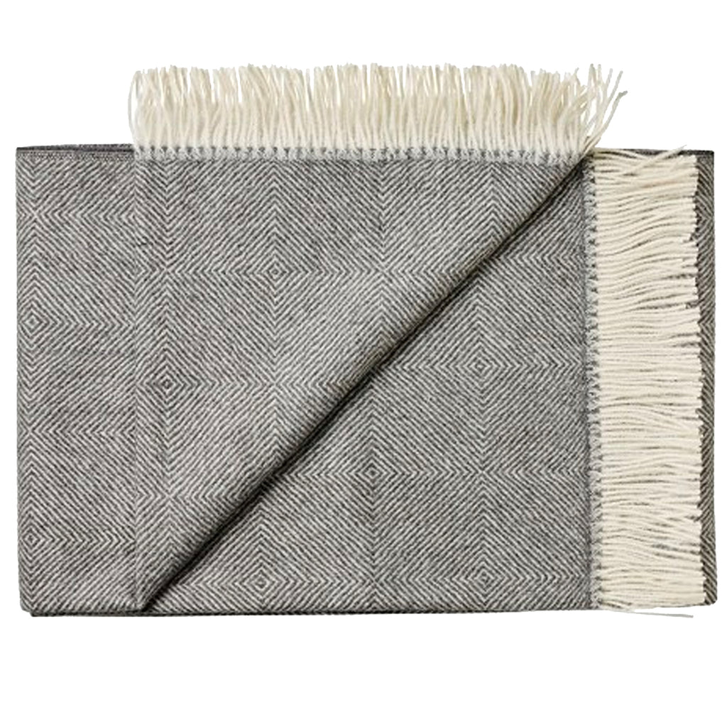 THROW/BLANKET - Alpaca diamond weave - CHARCOAL