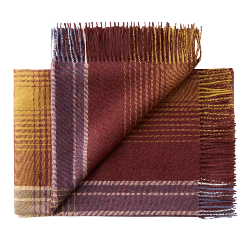THROW/BLANKET - Baby Alpaca check - BURGUNDY GOLD