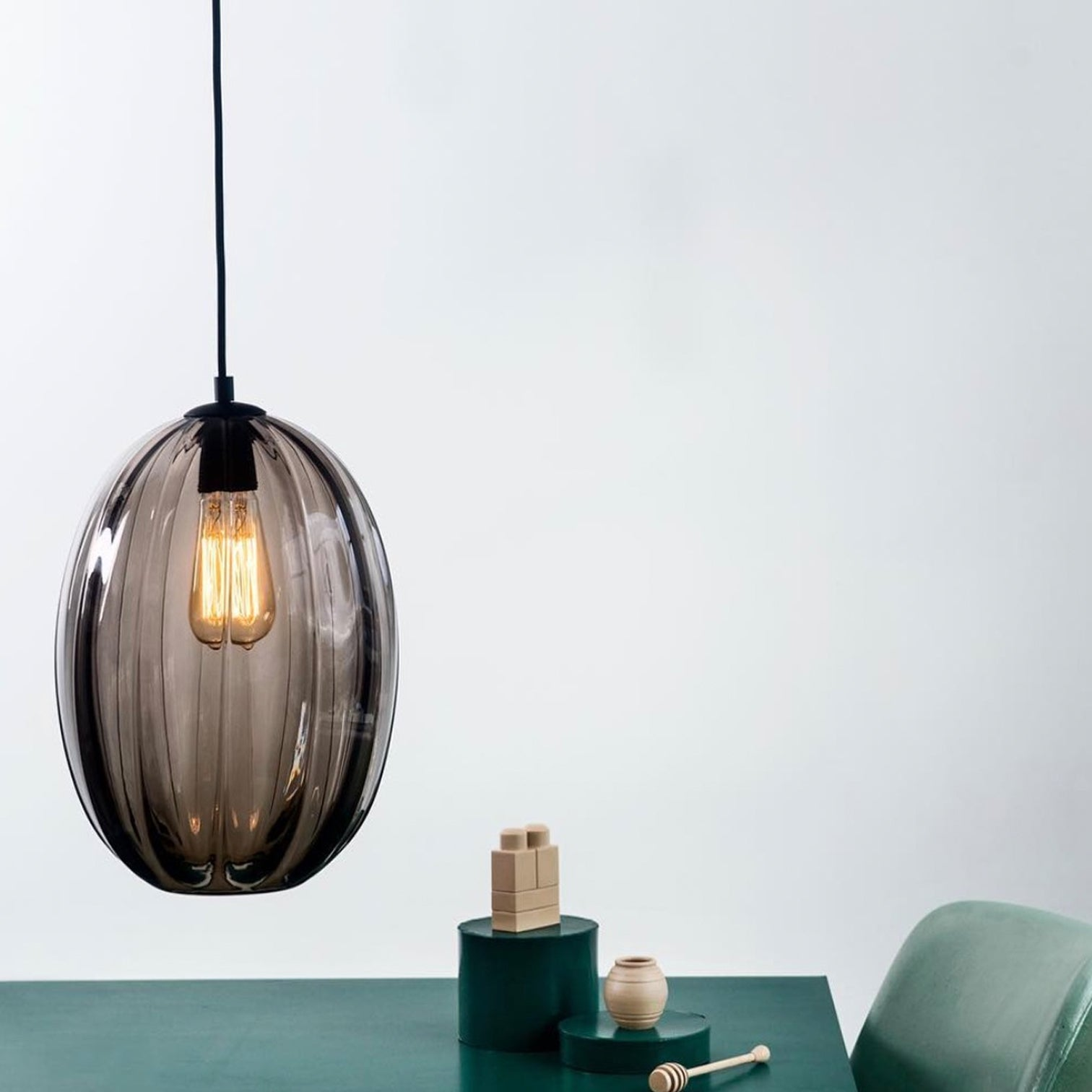 CEILING PENDANT - Glass - OVAL - Bronze