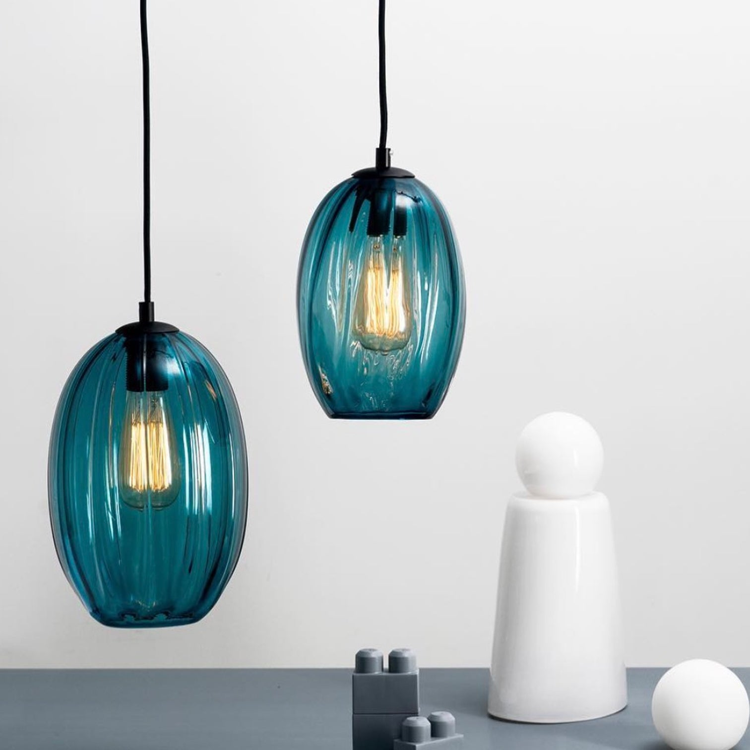 CEILING PENDANT - Glass - OVAL - Steel Blue