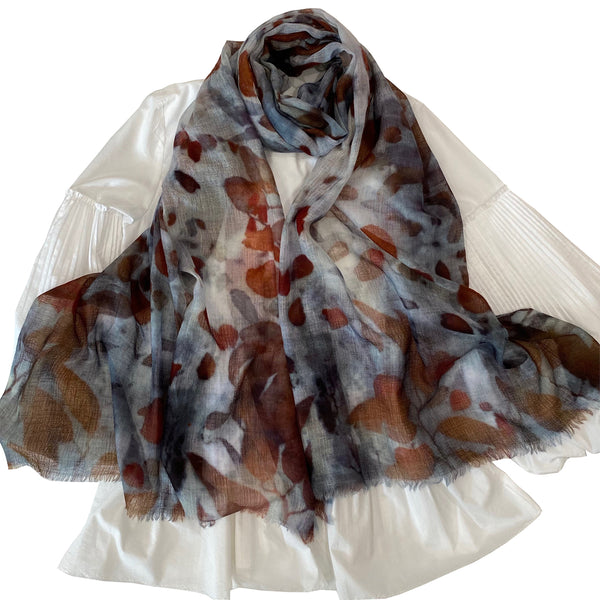 LUXURY SHAWL - Handwoven merino & silk - AUTUMN
