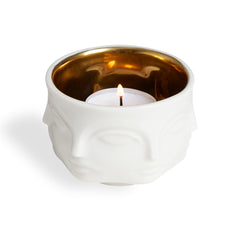 MUSE VOTIVE HOLDER - White/Gold Interior
