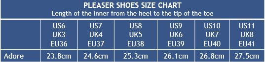 Pleaser Shoes Adore Size Chart