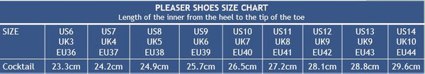Pleaser Shoes Cocktail Size Chart