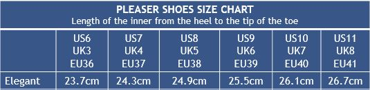 Pleaser Shoes Elegant Size Chart