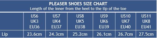 Pleaser Shoes Lip Size Chart