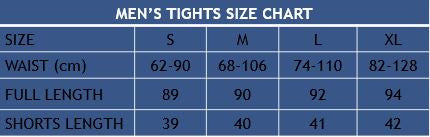 Men's Tights Size Chart