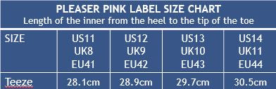 Pleaser Shoes Pink Label Teeze Size Chart on Pretty Fit NZ