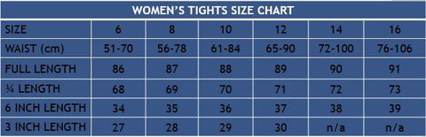 Women's Tights Size Chart