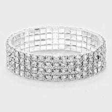 Rhinestone Stretch Bracelet 4 Rows - STREET SMART LEGACY CLOTHING