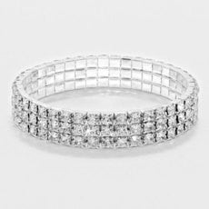 Rhinestone Stretch Bracelet 3 Rows - STREET SMART LEGACY CLOTHING