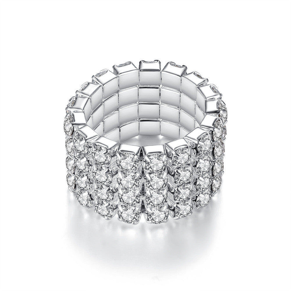 Rhinestone Crystal Stretch Ring 4 Rows - STREET SMART LEGACY CLOTHING